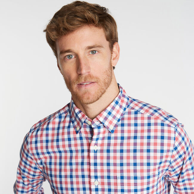 CLASSIC FIT POPLIN SHIRT IN TWO TONE GINGHAM,Coral Cape,large