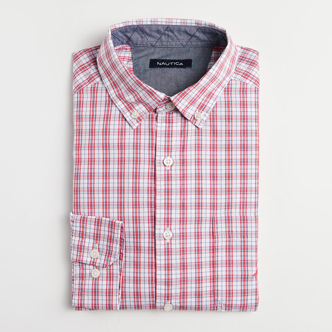 CLASSIC FIT PLAID SHIRT,Persian Red,large