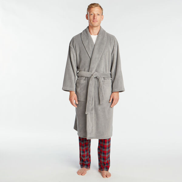 PLUSH KNIT ROBE - Seal Grey