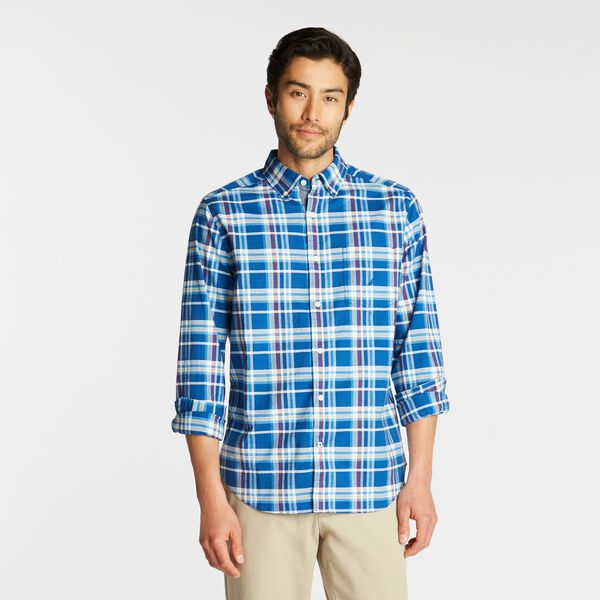BIG & TALL SHORT SLEEVE OXFORD SHIRT IN PLAID - Bluefish
