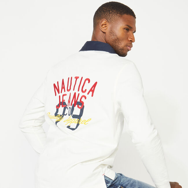 NAUTICA JEANS CO. BACK GRAPHIC LONG SLEEVE RUGBY,Sail White,large