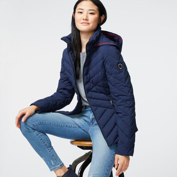 WATER-RESISTANT PACKABLE STRETCH HOODED COAT - Stellar Blue Heather
