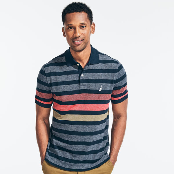 CLASSIC FIT STRIPED JASPE PIQUE POLO - Navy
