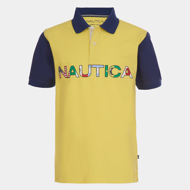 TODDLER BOYS' NAUTICA FLAGS POLO (2T-4T),Marigold,large