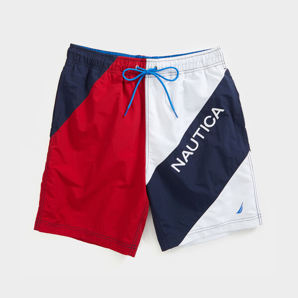 "8"" HERITAGE PIECED COLORBLOCK LOGO SWIM - Nautica Red"
