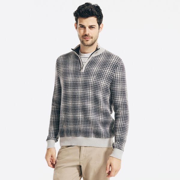SUSTAINABLY CRAFTED PLAID QUARTER-ZIP SWEATER - Cliff Grey