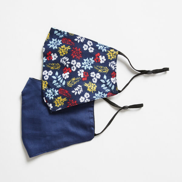 FLORAL PRINT AND SOLID REUSABLE FACE MASK, 2 PACK - Navy
