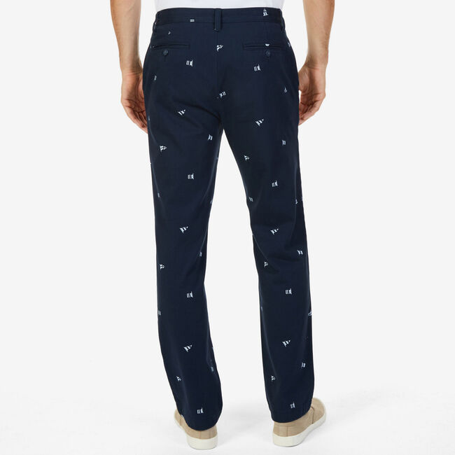 Classic Fit Deck Pant in Sailing Flag Print,True Navy,large