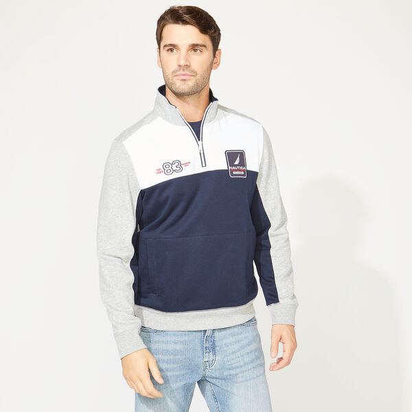 COLORBLOCK QUARTER-ZIP SWEATSHIRT - Grey Heather