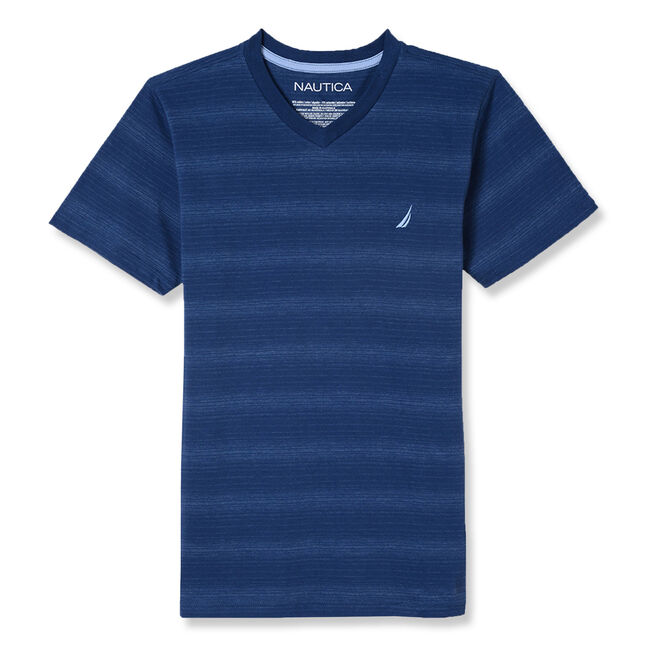Boys' Wade Short Sleeve Striped V-Neck Tee (8-20),Ballard Blue,large