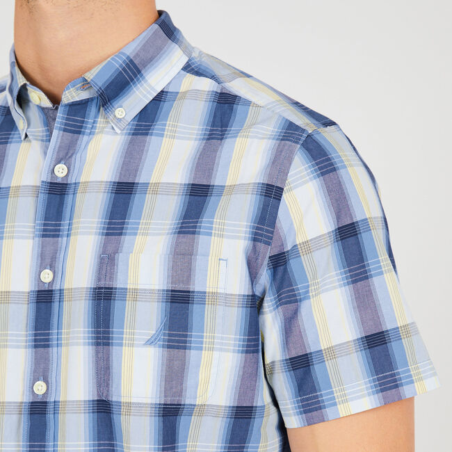 Classic Fit Plaid Short Sleeve Button Down,Riviera Blue,large