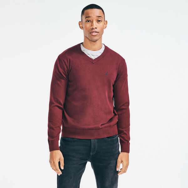 NAVTECH V-NECK SWEATER - Royal Burgundy