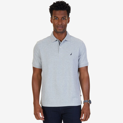 Short Sleeve Classic Fit Performance Deck Polo - Grey Heather