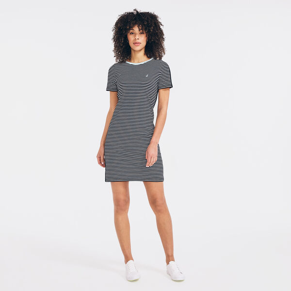 SUSTAINABLY CRAFTED STRIPED COLORBLOCK DRESS - True Black