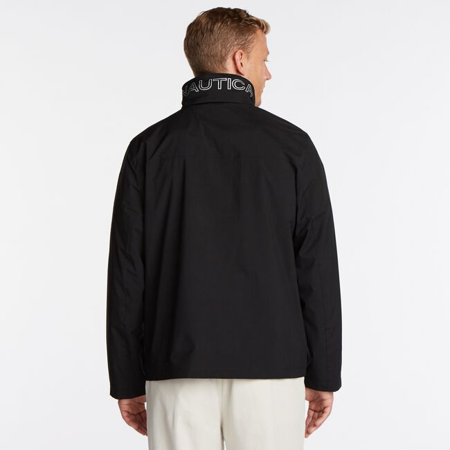 Classic Bomber With Packable Hood,True Black,large