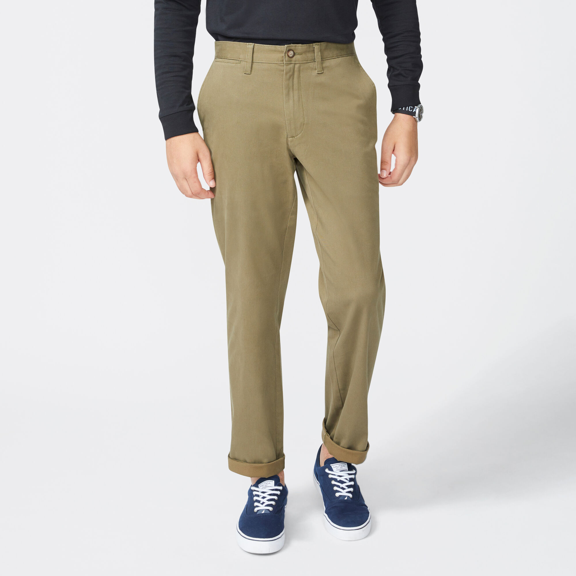 Details about  /Nautica Men/'s Twill Flat-Front Pant