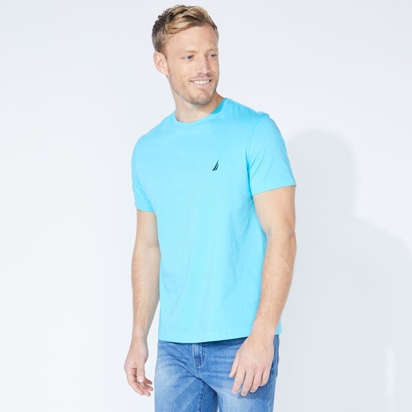SOLID CREW NECK T-SHIRT - Aqua Sky