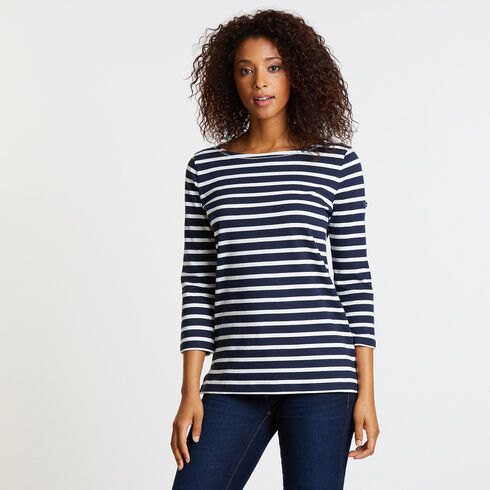 Iconic Sail Yarn Dyed Stripe Top - Deep Sea