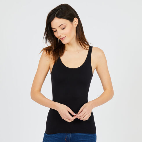 Reversible Neckline Tank Top - True Black