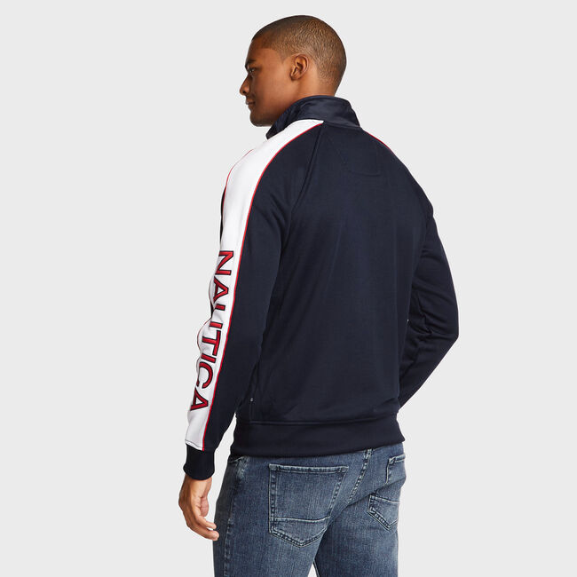 Track Jacket with Piping,Navy,large
