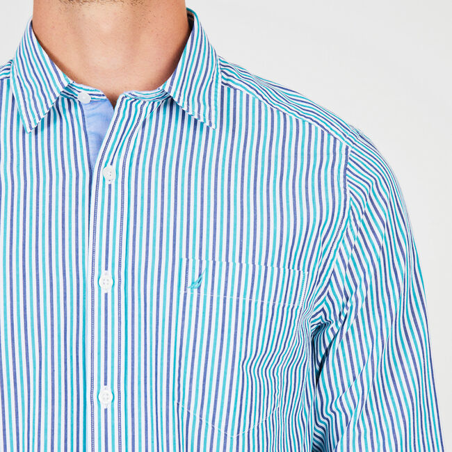 Long Sleeve Classic Fit Fine Stripe Button Down,Cosmic Cobalt,large
