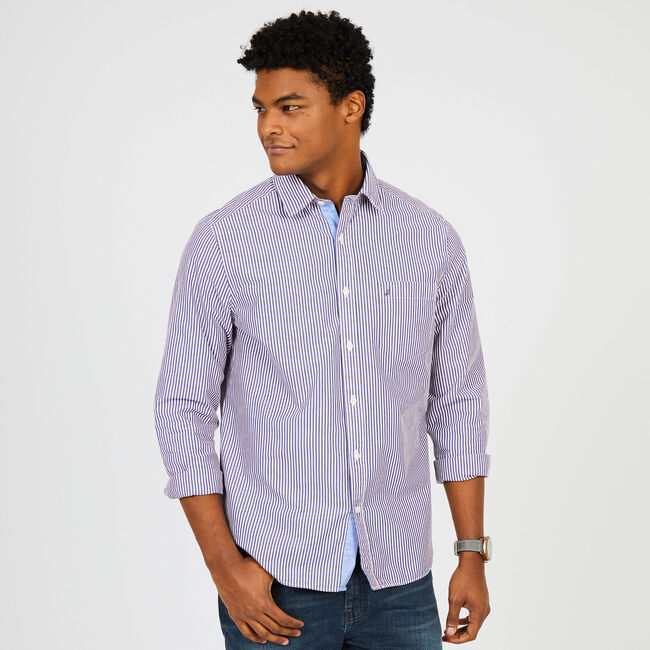 Classic Fit Bengal Striped Long Sleeve Button-Down Shirt,Blue Depths,large