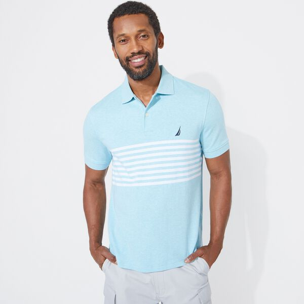 CLASSIC FIT PERFORMANCE TECH POLO IN STRIPE - Sea Mist