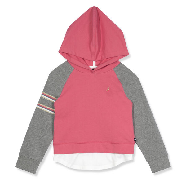 Little Girls' French Terry Graphic Hoodie (4-6X) - Pomegranate