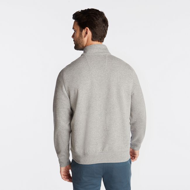 BIG & TALL QUARTER ZIP FLEECE PULLOVER,Stone Grey Heather,large