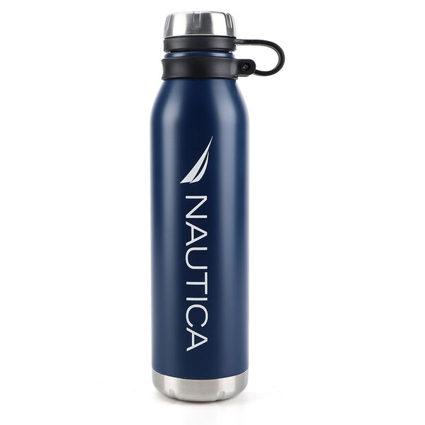 LOGO DOUBLE-WALLED STAINLESS STEEL WATER BOTTLE WITH FINGER GRIP - Navy