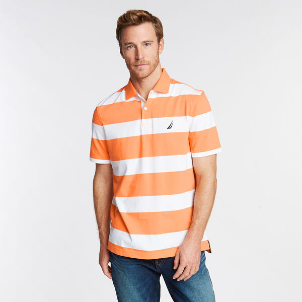 Stripe Classic Fit Polo - Sun Coast Orange