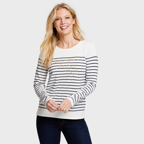 See You Soon Long Sleeve Striped Crewneck Sweater - Marshmallow