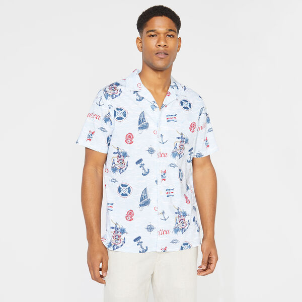 NAUTICA JEANS CO. NAUTICAL PRINT SHORT SLEEVE SHIRT - Bright White