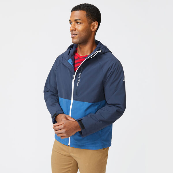 COLORBLOCK HOODED JACKET - Pure Adriatic Sea Wash