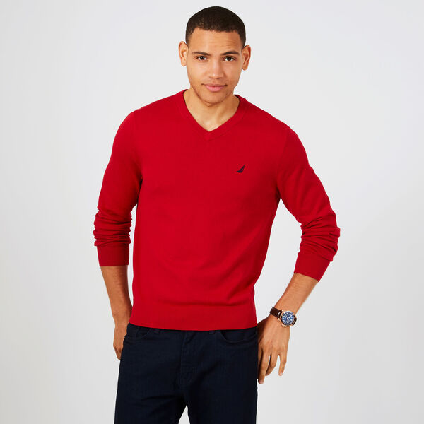 Jersey Navtech V-Neck Sweater - Nautica Red