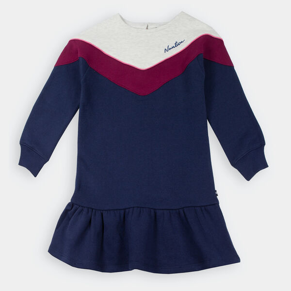 LITTLE GIRLS' CHEVRON DRESS (4-7) - Navy