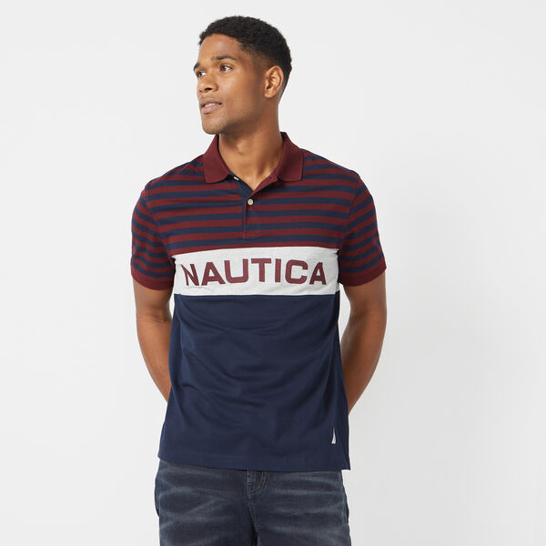 CLASSIC FIT STRIPED LOGO POLO - Royal Burgundy