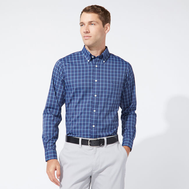 CLASSIC FIT PERFORMANCE TECH SHIRT IN NAVY PLAID,Tugboat Blue,large