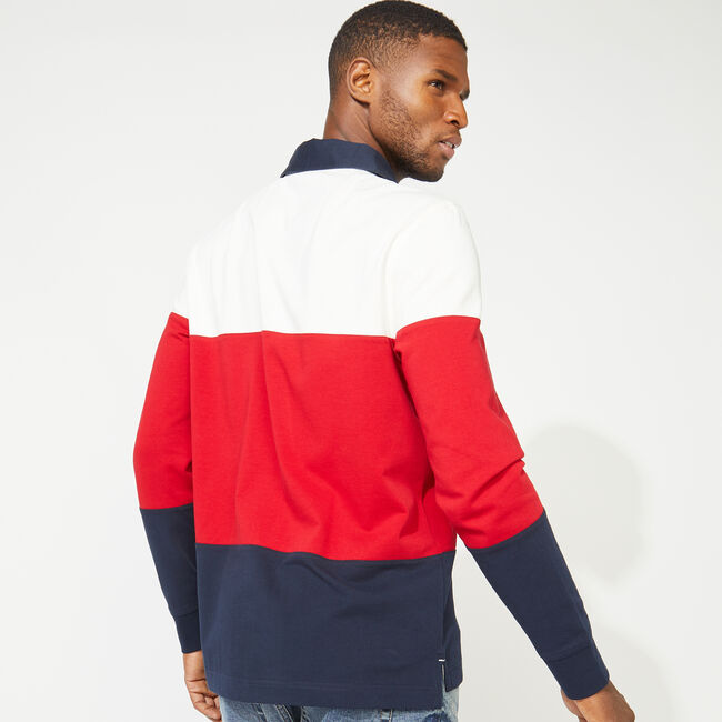 NAUTICA JEANS CO. COLORBLOCK LONG SLEEVE RUGBY,Sail White,large