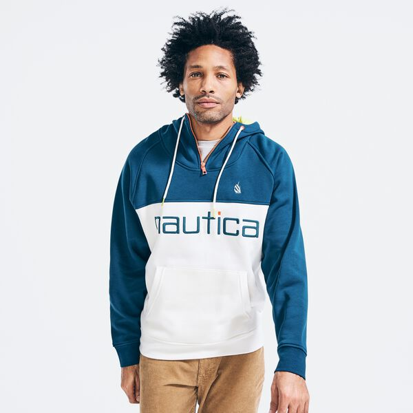 BIG & TALL COLORBLOCK LOGO QUARTER-ZIP HOODIE - Admiral Blue