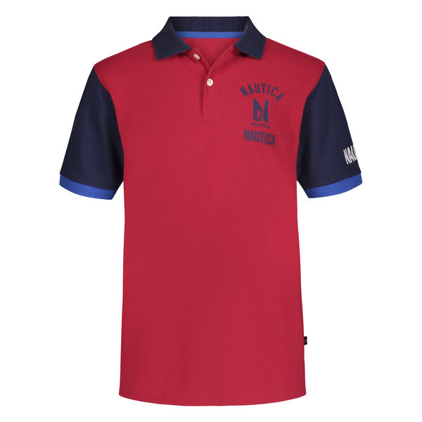 LITTLE BOYS' COLORBLOCK STACKED LOGO POLO (4-7) - Melonberry