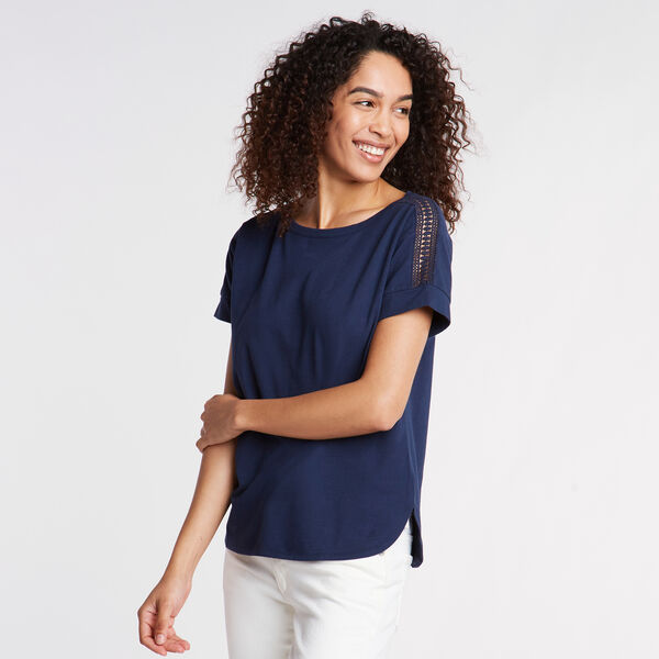 CROCHET & JERSEY TEE - Stellar Blue Heather