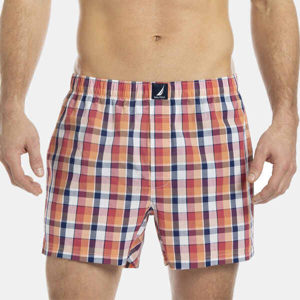 WOVEN BOXER IN PLAID - Peach Glow