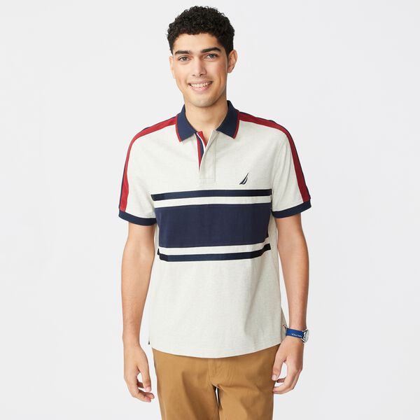 CLASSIC FIT COLORBLOCK STRIPE-SLEEVE POLO - Oatmeal Heather