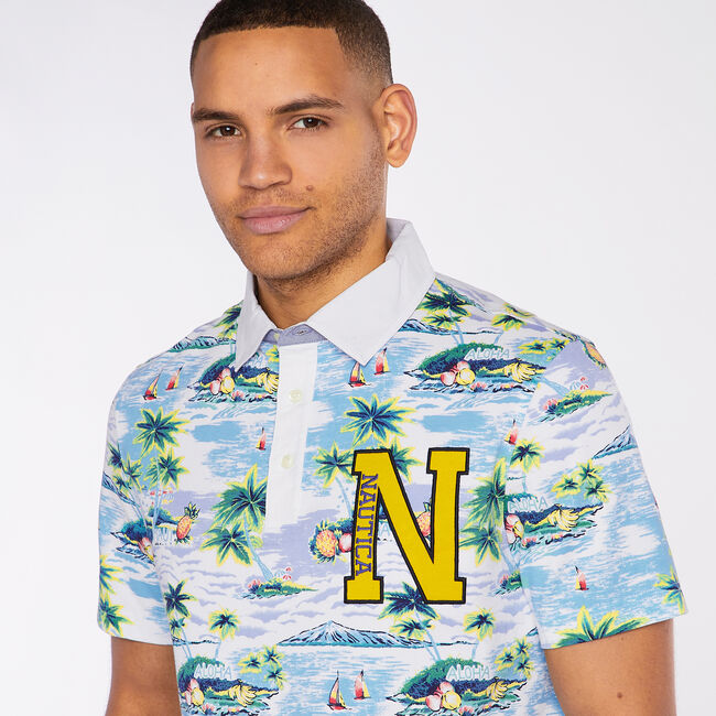 Classic Fit Jersey Polo in Aloha Print,Bright White,large