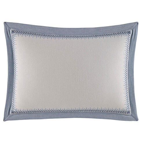 Abbot Embroidered Trim Throw Pillow - French Blue