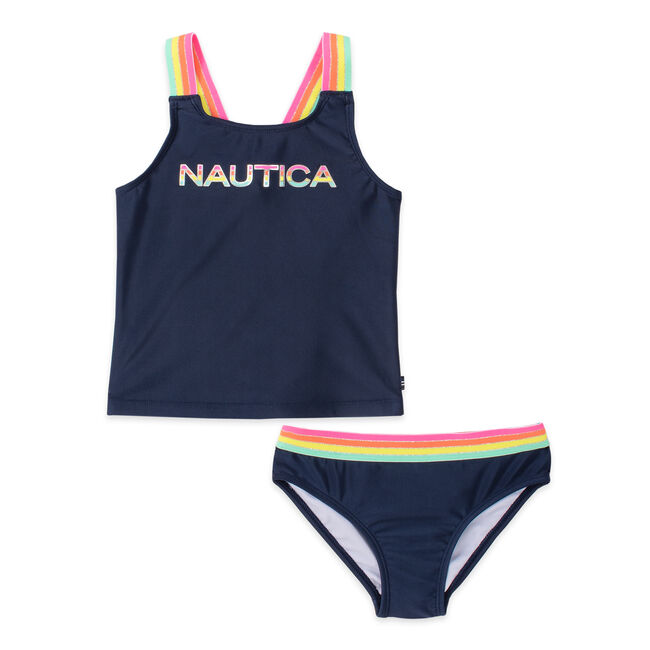 TODDLER GIRLS' MULTICOLOR STRIPED LOGO AND STRAP TANKINI (2T-4T),Navy,large