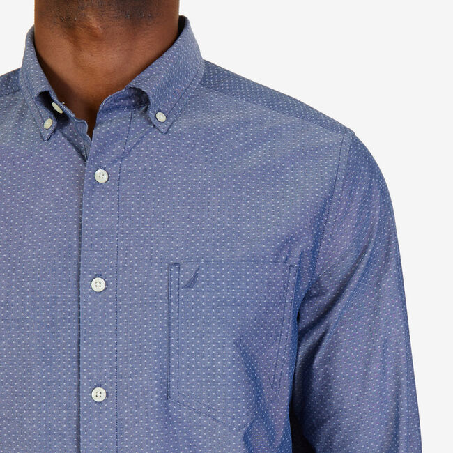 Dobby Dot Classic Fit Button-Down Shirt,Marine Blue,large