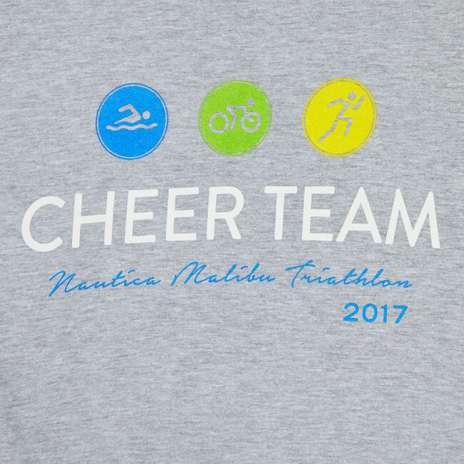 Nautica Malibu Triathlon Cheer Team Tee,Grey Heather,large
