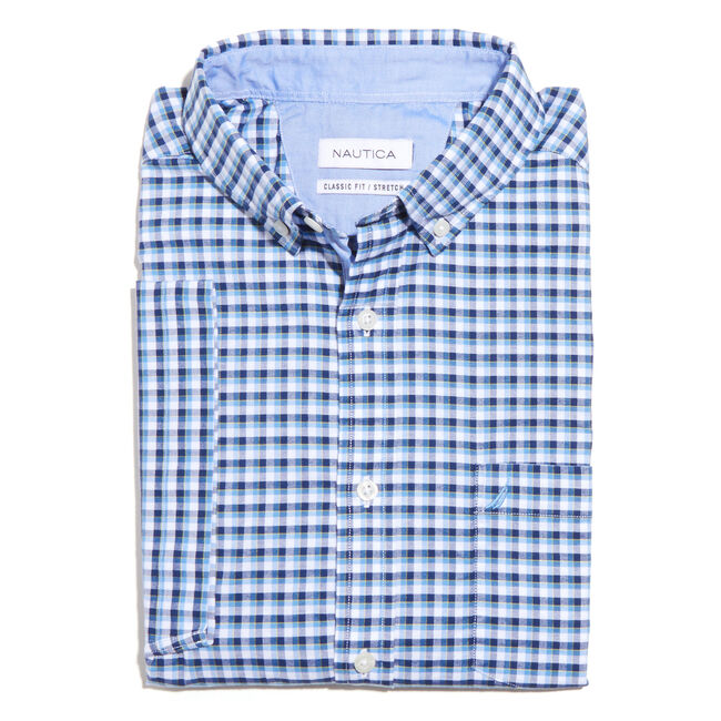 Short Sleeve Oxford Gingham Classic Fit Shirt,Blue Grass,large